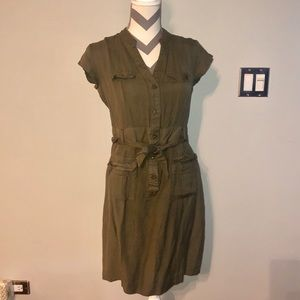 Banana Republic Factory Olive Linen Shirt Dress 4